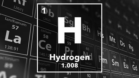 Simbolo dell'elemento chimico Idrogeno della tavola periodica